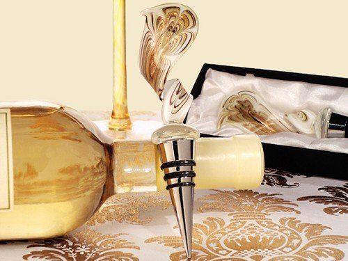 Murano Art Deco Elegant Gold Swirl Wine Stopper