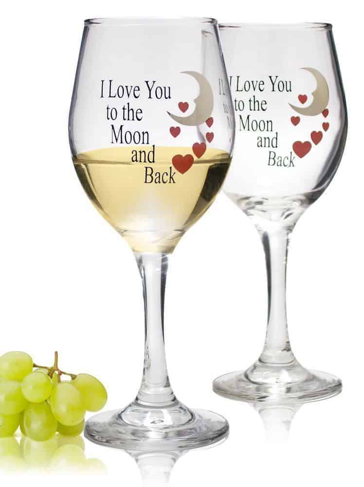 I love you to the moon and back wine glasses