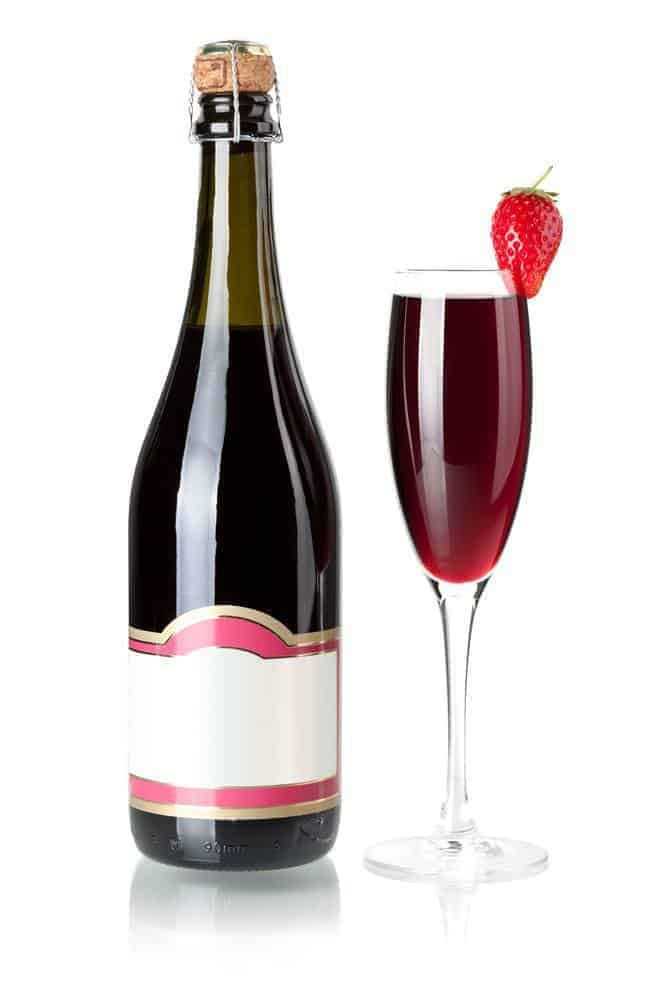 Strawberry champagne bottle