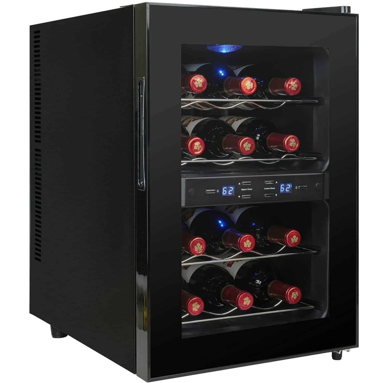 AKDY® Black Freestanding Thermoelectric Counter Dual Zone Wine Cooler