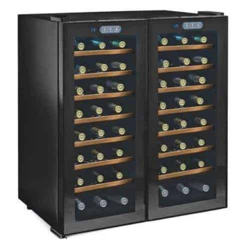 Wine Enthusiast Silent 48 Bottle Touchscreen Double Door Dual Zone Wine Cooler