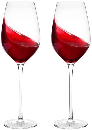 Bella Vino Hand Blown Long Stem Red Wine Glasses
