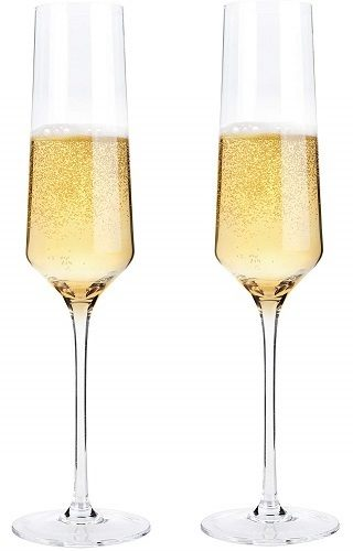 Bella Vino Hand Blown Crystal Champagne Flutes